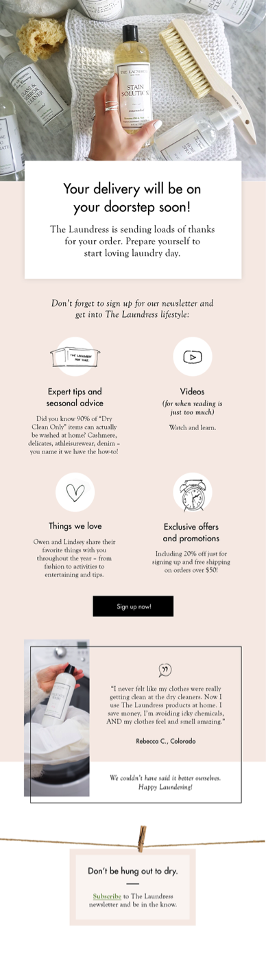 The Laundress Post-purchase Email