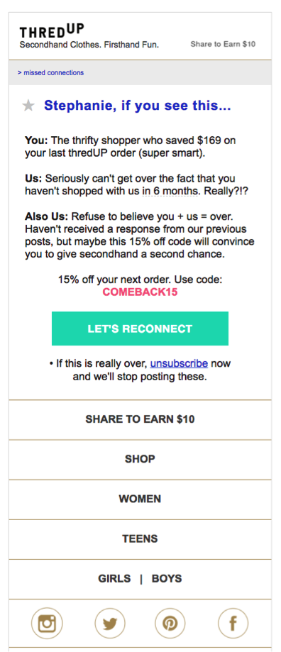 Thred-Up Post-purchase Email